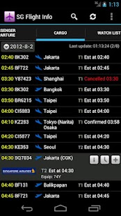 Singapore Flight Info - screenshot thumbnail