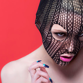 Catherine by Matt Mack - People Fashion ( girl beauty makeup fishnet fashion red lips pink teal blue )
