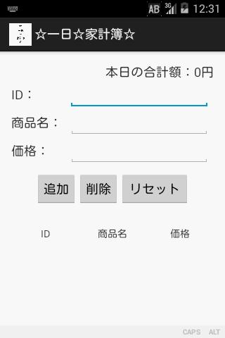 ☆一日☆家計簿☆