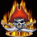 Pirate Skull n Flaming Swords logo