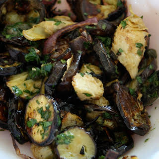 Roasted Eggplant with Artichoke Hearts and Salsa Verde.