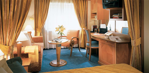 Silversea_Vista_Suite - Silversea's Vista Suite offers a sitting area with plenty of space for relaxing and a writing desk if the mood strikes you.