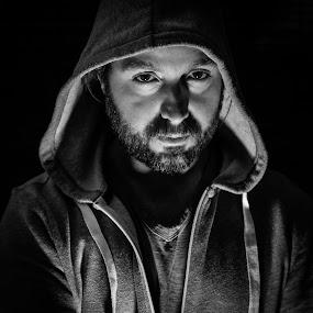 Self Portrait B&W by Michael Last - Black & White Portraits & People ( , Selfie, self shot, portrait, self portrait )