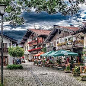 Street in Schliersee by Jacek Steplewski - City,  Street & Park  Street Scenes ( houses, bavaria, street, restaurant, street lamp, cobblestone, city,  )