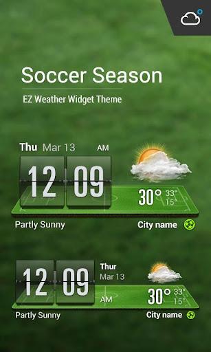 綠蔭﹣足球主題時鐘天氣小工具﹣琥珀天氣,最贊的天氣小工具!