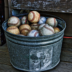 Baseballs by Jim Antonicello - Artistic Objects Other Objects ( baseballs, bench, pail, porch )