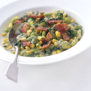 Baby Lima Beans and Corn in Chive Cream.