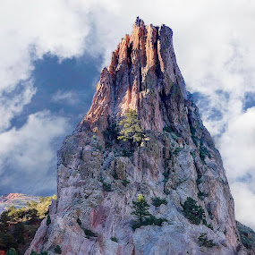 The Tower by Barb Hauxwell - Landscapes Mountains & Hills ( clouds, tower, blue, pink green, colorado, rock formation, garden of the gods )