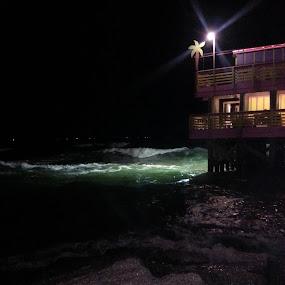 Night Waves by Sherri Perkins - Landscapes Beaches ( peaceful, night lights, mood, beach, Lighting, moods, mood lighting )