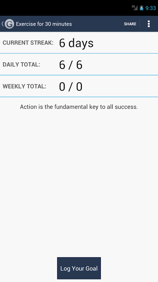 Daily Goal Tracker | Log - screenshot