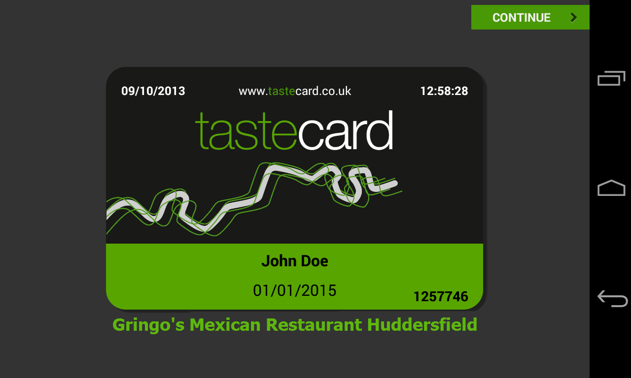 tastecard - discount dining - screenshot