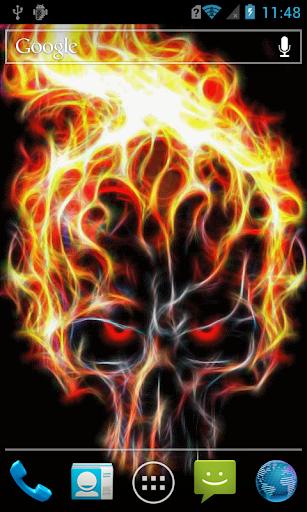 Fiery skull live paper