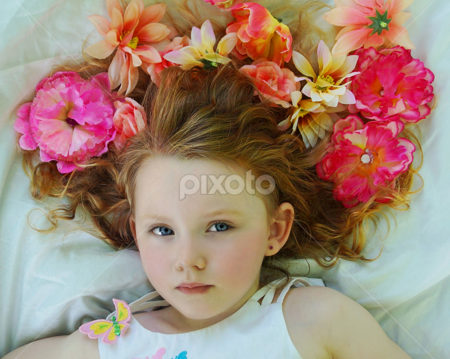 Flower Model by Cheryl Korotky - Babies & Children Child Portraits ( child, model, red hair, portrai, flowers in hair, amazing faces, beautiful children, blue eyes, nevaeh, a heartbeat in time photgraphy, flowers, perfect skin, , colorful, mood factory, vibrant, happiness, January, moods, emotions, inspiration )