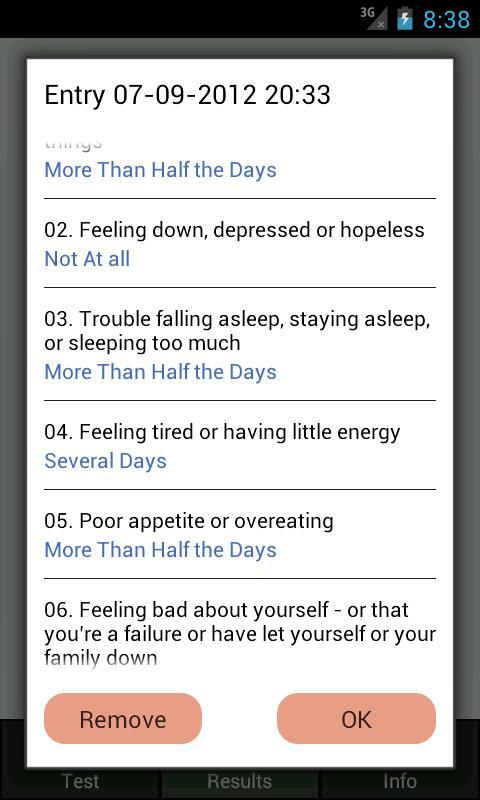 Depression Test- screenshot