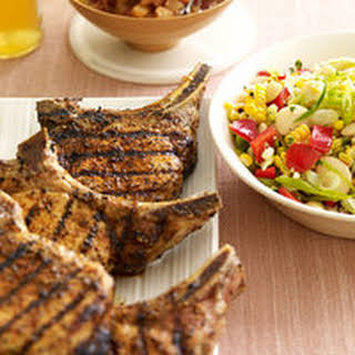 Smoky Pork Chops with Spicy Applesauce and Garlicky Succotash.