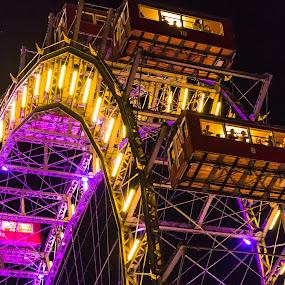 Prater Wheel by Franco Beccari - City,  Street & Park  Amusement Parks ( funfair, wheel, amusement park, people, prater )