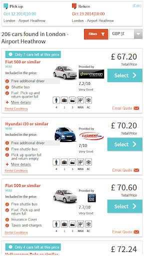 Car Hire Price Scanner