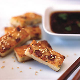 Golden Crisp Daikon Cake with Spicy Herb Soy Sauce.