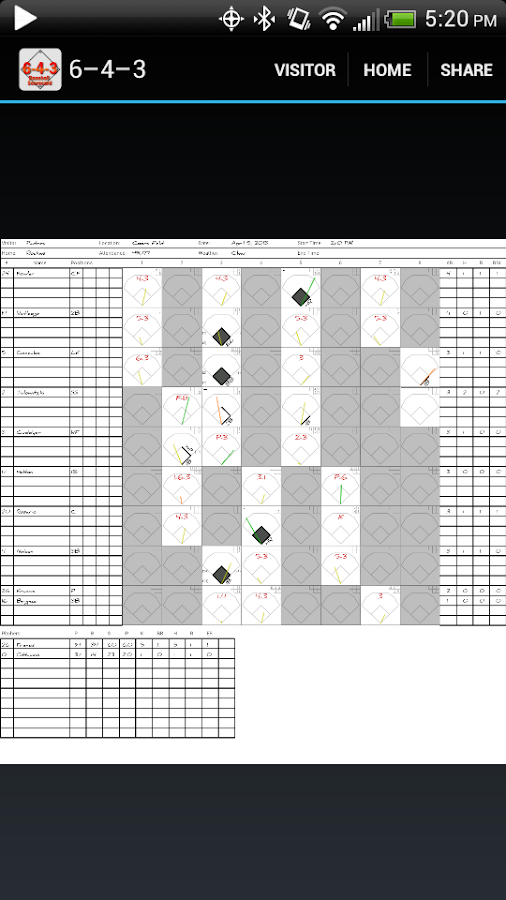 6-4-3 Baseball Scorecard - screenshot