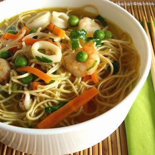 Shrimp and Squid Noodle Soup.