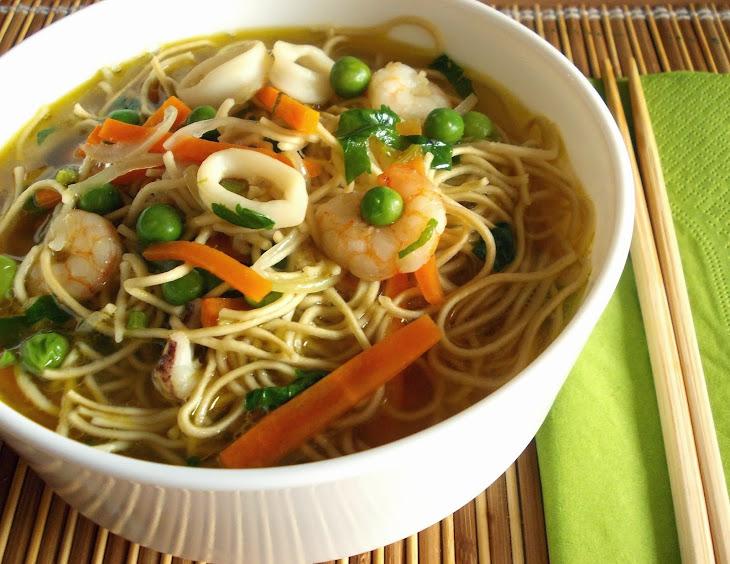 Shrimp and Squid Noodle Soup Recipe