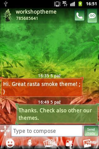 GO SMS Pro Theme Weed 的主題雜草的甘賈