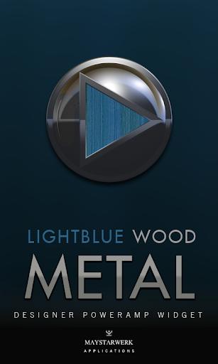 Poweramp Widget Lightblue Wood