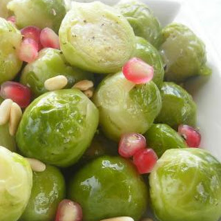 Pressure Cooker Brussels Sprouts with Pomagranate and Pine Nuts.