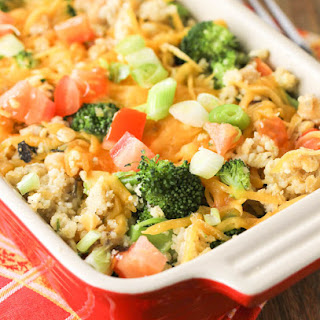 Baked Quinoa Casserole with Chicken and Broccoli.