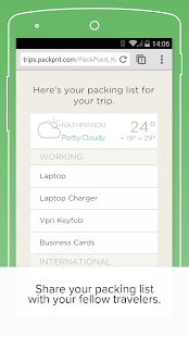 PackPoint Premium packing list- screenshot thumbnail