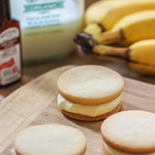 Banana Pudding Sandwich Cookies with Homemade Vanilla Wafers.