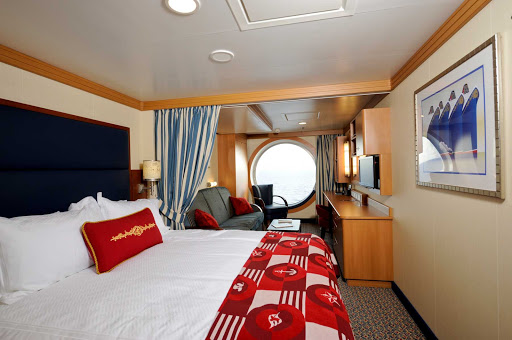 Disney-Dream-stateroom-with-outside-view - A typical stateroom with a view of the ocean on Disney Dream.