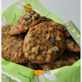 Banana, Oatmeal, and Chocolate Cookies.
