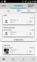 Screenshot of Call / SMS statistics