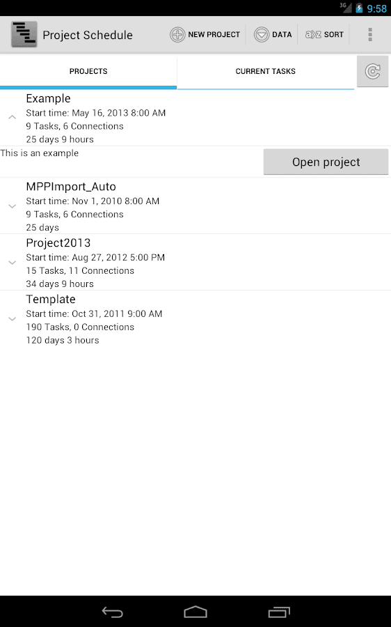 Project Schedule - screenshot