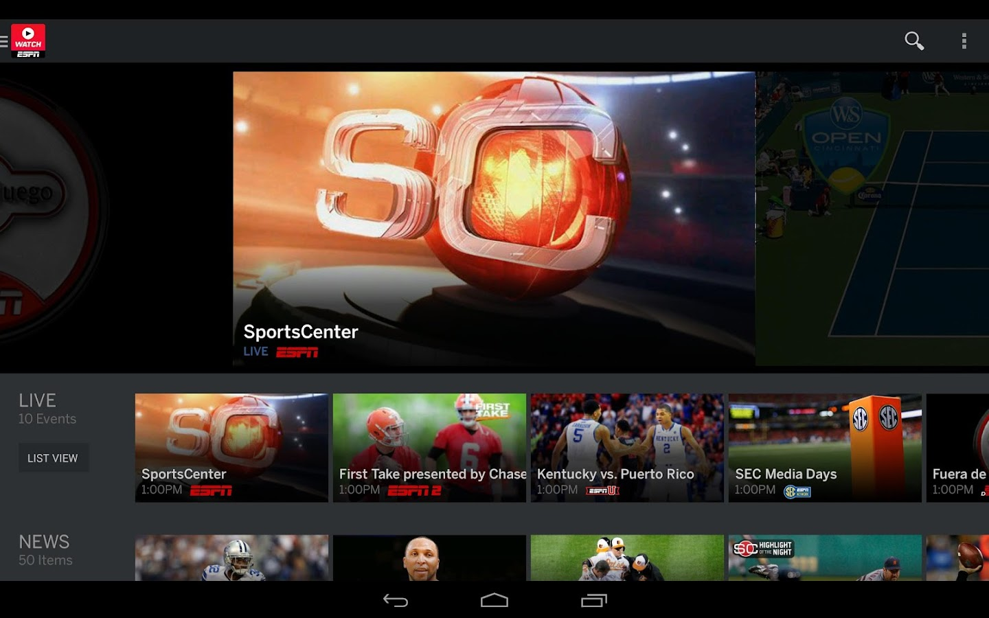 Screenshots of WatchESPN for Android