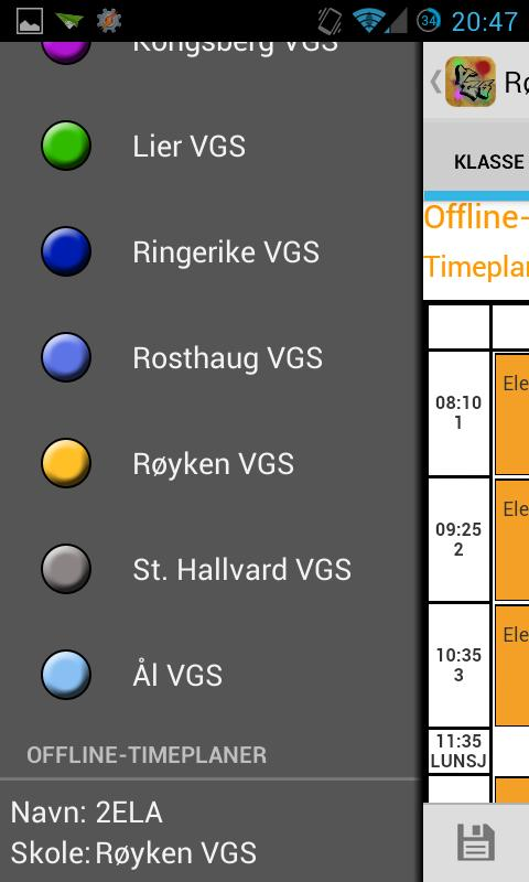VGS Timeplan- screenshot