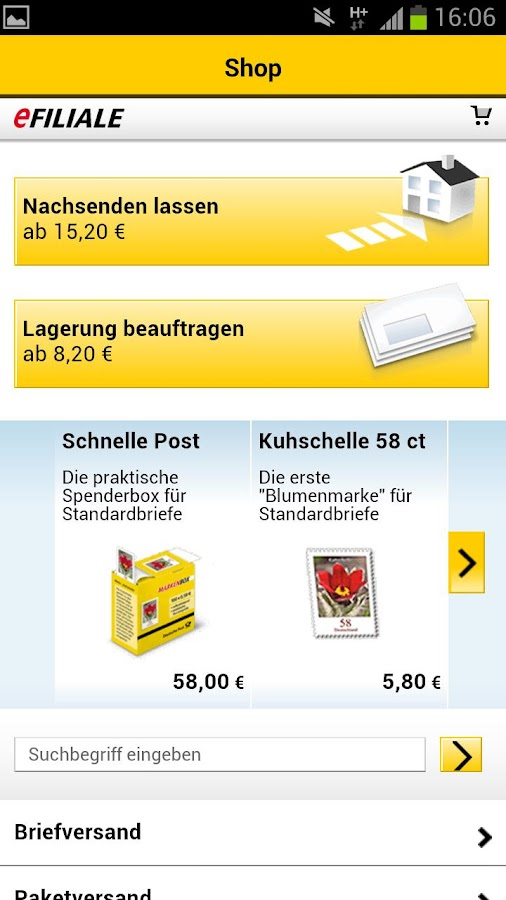 Post mobil - screenshot
