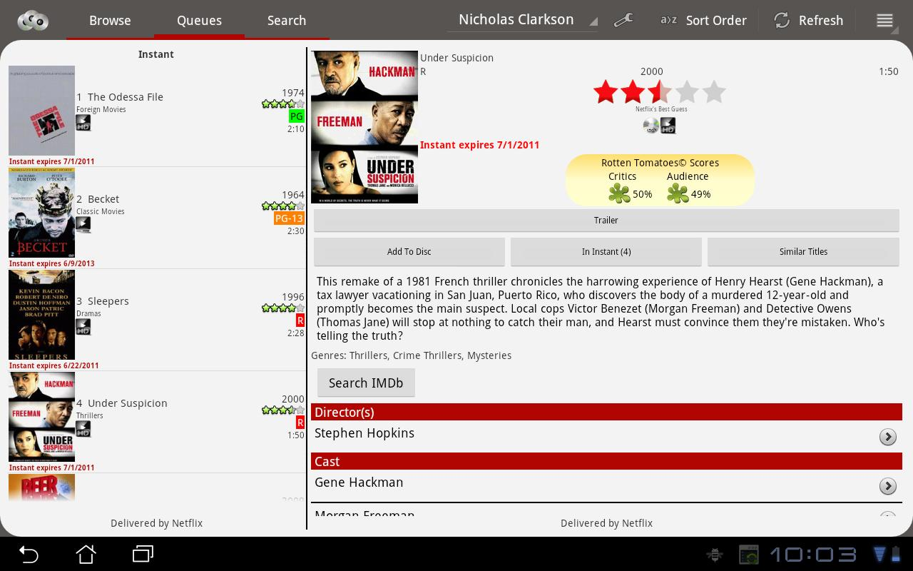 NetQ - A Netflix Queue Manager - screenshot