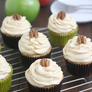 Apple-Cinnamon Cupcakes with Caramel Cream Cheese Frosting.
