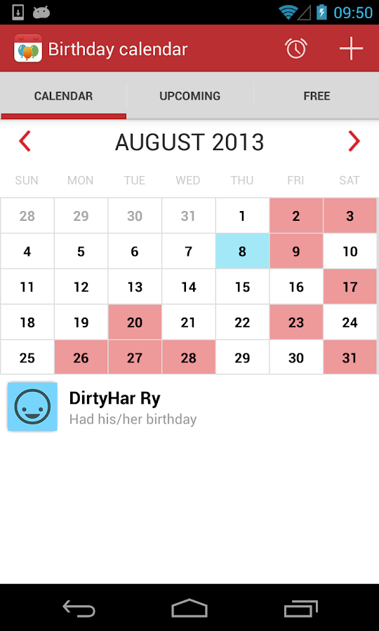 Birthday Calendar- screenshot