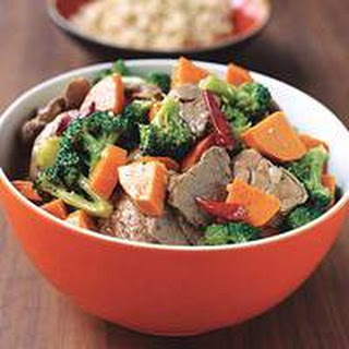 Spicy Stir-Fried Pork Tenderloin with Sweet Potatoes and Broccoli.