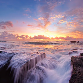 Spilled Water at Sunset by Arya Satriawan - Landscapes Sunsets & Sunrises ( clouds, water, sky, nature, color, national geographic, sunset, spill, beach, landscape )