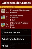 Screenshot of Caderneta de Cromos