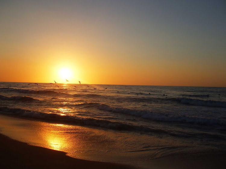 Sunset in San Pancho, also called San Francisco, on the Pacific coast of Mexico north of Puerto Vallarta.