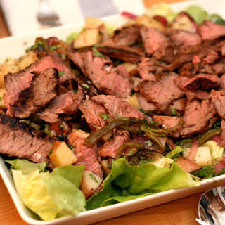 Roasted Poblano-Potato Salad with Grilled Steak.
