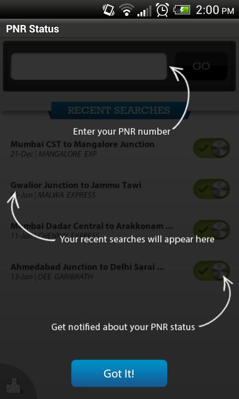PNR Status - screenshot