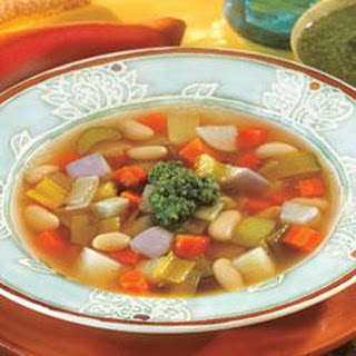 Swanson® Winter Vegetable Bean Soup with Pesto