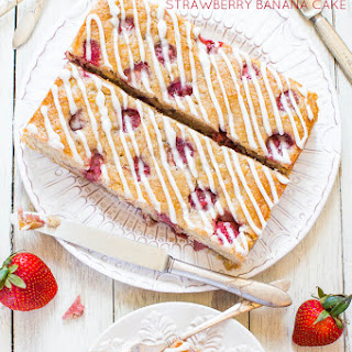 Soft and Fluffy Strawberry Banana Cake (vegan).