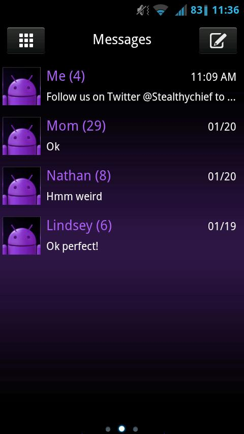 GO SMS Dark Purple Theme- screenshot